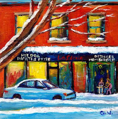 Verdun Montreal Favorite Poutine Restaurant Wellington Street Poutine Lafleur Wnter City Street Art  Poster
