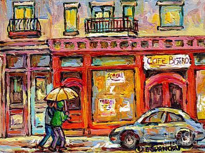 Verdun Montreal Rainy Day Wellington Street Umbrella Paintings Canadian Cityscenes C Spandau Art Poster