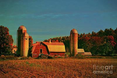 Poster featuring the photograph Vermont Autumn Barn by Deborah Benoit