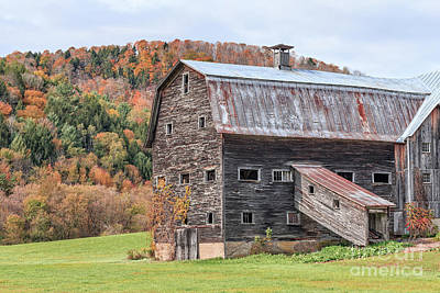 Vermont Barn Autumn Poster by Edward Fielding