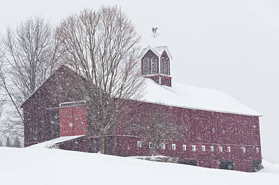 Vermont Barn In Snowstorm Poster by Alan L Graham