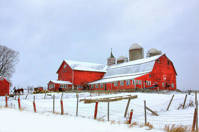Poster featuring the digital art Vermont Barn by Sharon Batdorf