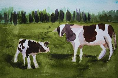 Poster featuring the painting Vermont Cow And Calf by Donna Walsh