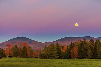 Vermont Fall, Full Moon And Belt Of Venus Poster by Tim Kirchoff