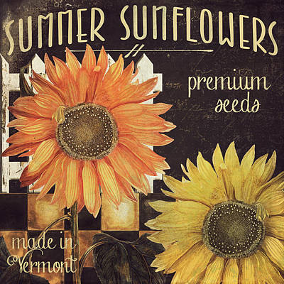 Vermont Farms Sunflowers Poster by Mindy Sommers
