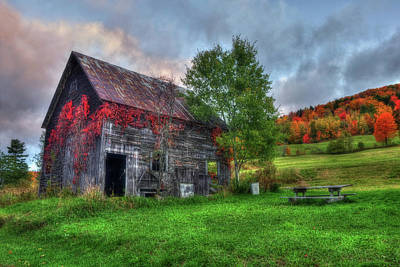 Vermont Red Barn In Autumn Poster by Joann Vitali
