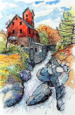 Poster featuring the painting Vermont Red by Terry Banderas