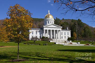 Vermont State House In Autumn Poster by Diane Diederich
