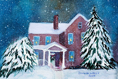 Poster featuring the painting Vermont Studio Center In Winter by Donna Walsh