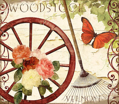 Vermont Summer Wagon Wheel Poster by Mindy Sommers