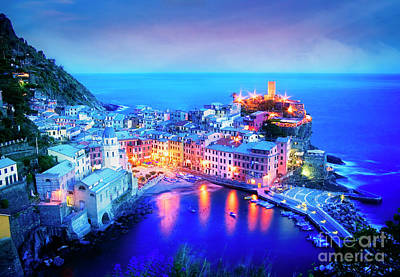 Poster featuring the photograph Vernazza At Dusk by Scott Kemper