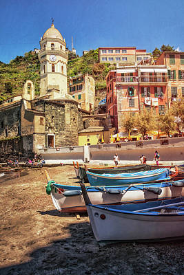 Vernazza Boats And Church Cinque Terre Italy Poster by Joan Carroll