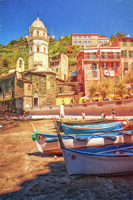 Vernazza Boats And Church Cinque Terre Italy Painterly Poster by Joan Carroll