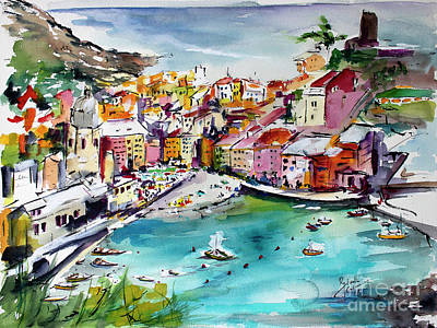 Poster featuring the painting Vernazza Italy Cinque Terre Watercolors by Ginette Callaway