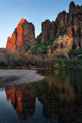 Poster featuring the photograph Vertical Cliffs Reflected In The Salt River At Sunset by Dave Dilli