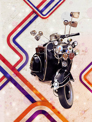 Vespa Mod Scooter Poster by Michael Tompsett