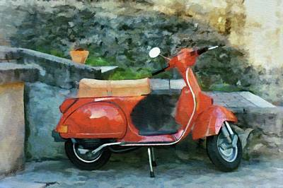 Poster featuring the painting Vespa Parked by Jeff Kolker