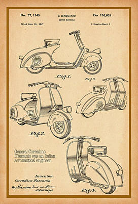 Vespa Patent Drawing Poster