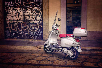 Vespa Scooter In Milan Italy  Poster by Carol Japp