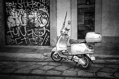 Vespa Scooter In Milan Italy In Black And White  Poster by Carol Japp