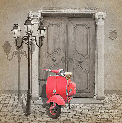 Vespa Scooter With Pink Colorkey Poster by Monika Juengling