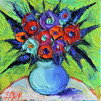 Vibrant Bouquet On Round White Table Poster by Mona Edulesco
