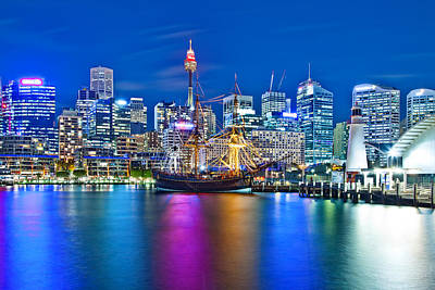 Vibrant Darling Harbour Poster by Az Jackson