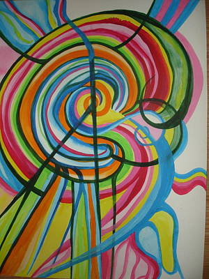 Poster featuring the painting Vibrant Spirals by Erika Swartzkopf