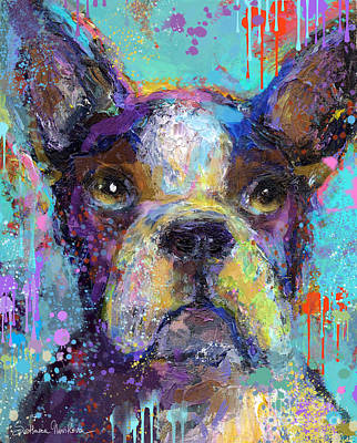 Vibrant Whimsical Boston Terrier Puppy Dog Painting Poster