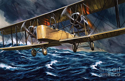 Vickers Vimy Over The Waves Poster by Wilf Hardy