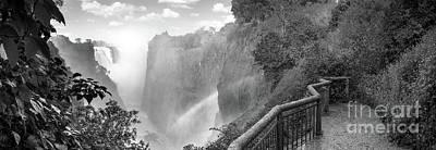 Victoria Falls Black And White Poster
