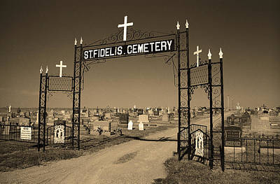 Poster featuring the photograph Victoria, Kansas - St. Fidelis Cemetery Sepia by Frank Romeo