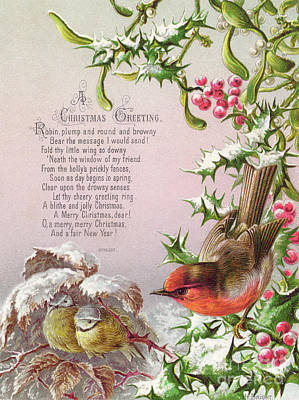 Victorian Christmas And New Year Card Of A Robin And Two Birds In A Snowy Scene Poster