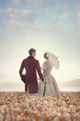 Victorian Couple Standing In A Meadow Poster by Lee Avison