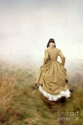 Victorian Woman Running On The Misty Moors Poster