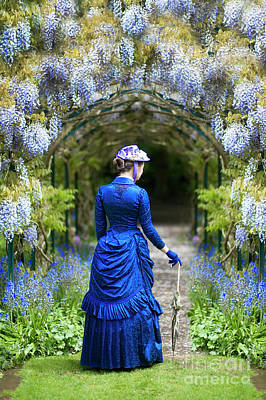 Victorian Woman With Wisteria Poster