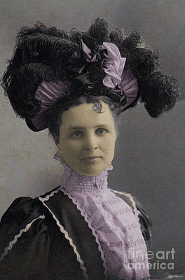 Poster featuring the photograph Victorian Women With Big Hat by Lyric Lucas