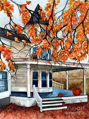 Victoria's Pumpkin Porch - Halloween House Poster by Janine Riley
