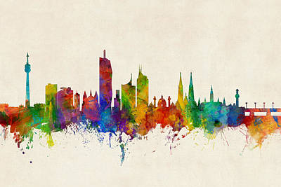 Vienna Austria Skyline Poster by Michael Tompsett