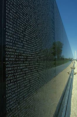 Vietnam Memorial With Washington Poster by Kenneth Garrett