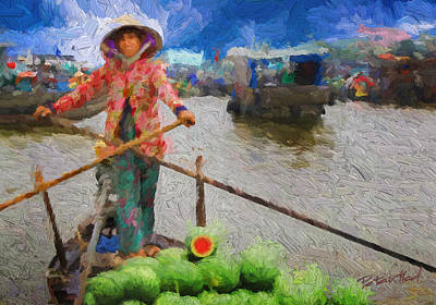 Vietnamese Woman Boating Poster
