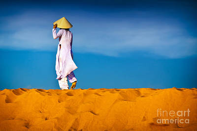 Vietnamese Woman In The Red Sand Dunes Mui Ne Vietnam Poster