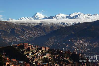View Across La Paz To The Cordillera Real Mountains Bolivia Poster