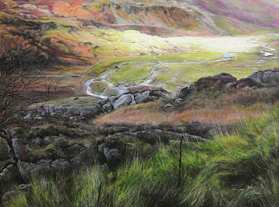 View Down The Valley In Snowdonia. Poster