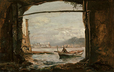 View From A Grotto Near Posillipo Poster by Johan Christian Dahl