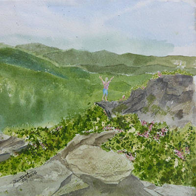 Poster featuring the painting View From Craggy Gardens - A Watercolor Sketch  by Joel Deutsch