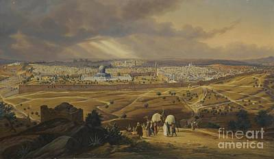 View From The Mount Of Olives In Jerusalem  Poster by MotionAge Designs
