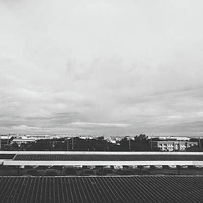 View From The Terrace Black And White Poster