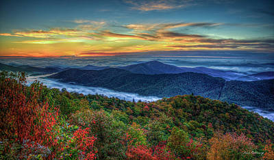 View From The Top Blue Ridge Mountain  Parkway Sunrise Art Poster