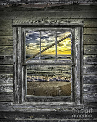 View From Weathered Beach Cottage Poster